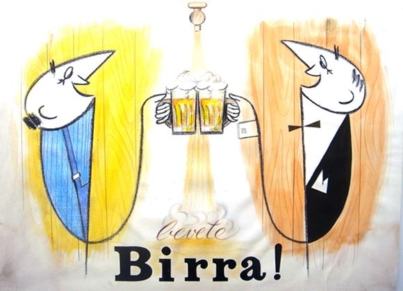 Bozzetto conservato al Museo Peroni di una delle affiche della campagna pubblicitaria ideata a metà degli anni '50 dalle aziende birraie