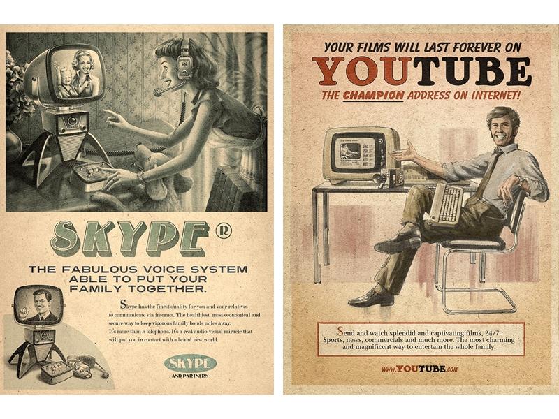 Skype e YouTube vintage - campagna pubblicitaria basata sull'heritage marketing