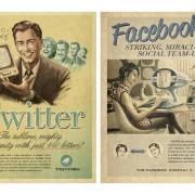 Twitter e Facebook vintage - campagna pubblicitaria basata sull'heritage marketing