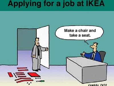 Lavorare da IKEA - cartoon via mickeymama08.blog.deejay.it