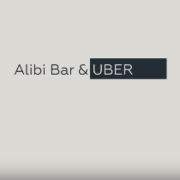 Alibi Bar & Uber - business card