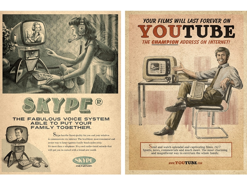 Skype e YouTube vintage - campagna pubblicitaria basata sull'heritage marketing