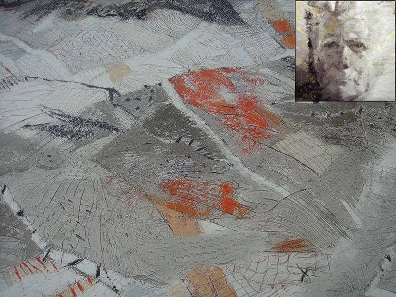 Tullio Pericoli - volto di Samuel Beckett e dettaglio di un paesaggio messi a confronto - by Alessandra Colucci