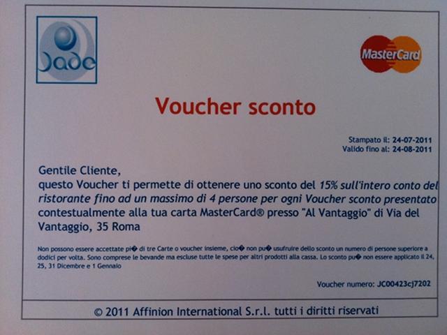 "Voucher MasterCard ""Al Vantaggio"""