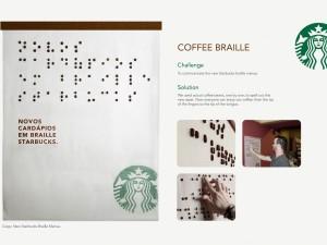 Starbucks - braille menu