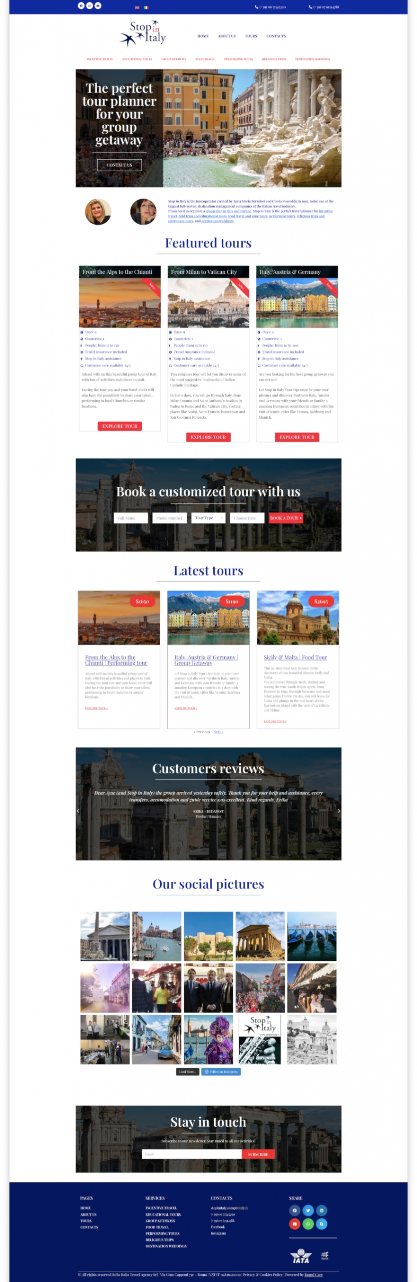 Stop in Italy - website